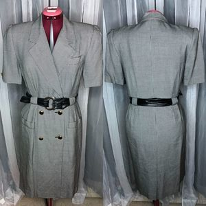 Vintage double breasted Suit dress houndstooth